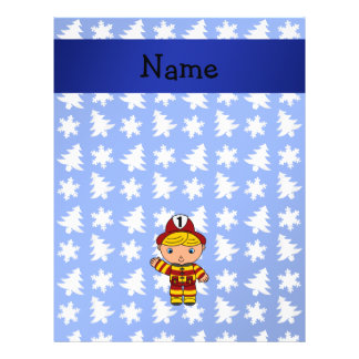 "Personalized name fireman blue snowflakes trees 8.5"" x 11"" flyer"