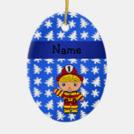 Personalized name fireman blue snowflakes trees ornament