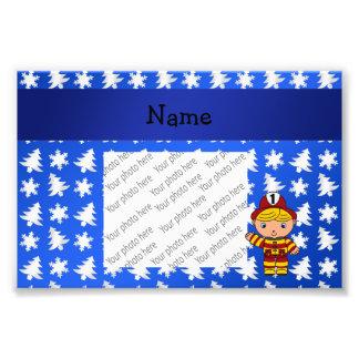 Personalized name fireman blue snowflakes trees art photo