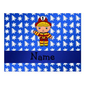 Personalized name fireman blue snowflakes trees postcard