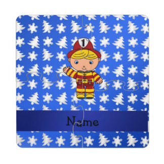 Personalized name fireman blue snowflakes trees puzzle coaster