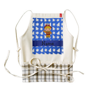 Personalized name fireman blue snowflakes trees zazzle HEART apron