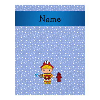 "Personalized name fireman blue stars pattern 8.5"" x 11"" flyer"