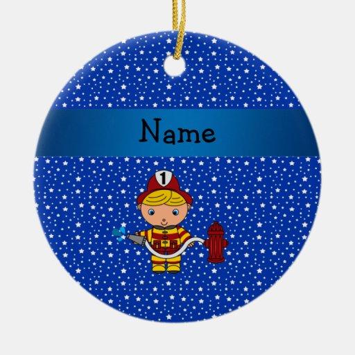 Personalized name fireman blue stars pattern christmas tree ornaments