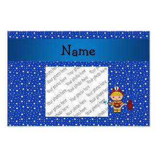 Personalized name fireman blue stars pattern photo print