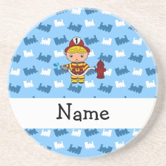 Personalized name fireman blue trains drink coasters