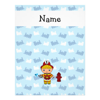 "Personalized name fireman blue trains 8.5"" x 11"" flyer"