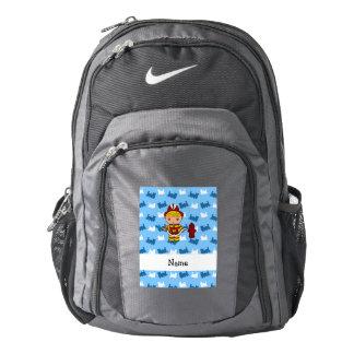 Personalized name fireman blue trains nike backpack