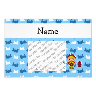 Personalized name fireman blue trains photographic print