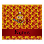 Personalized name fireman flames pattern poster