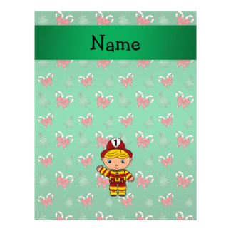 "Personalized name fireman green candy canes bows 8.5"" x 11"" flyer"