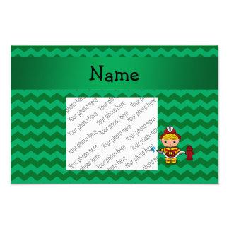 Personalized name fireman green chevrons photo art