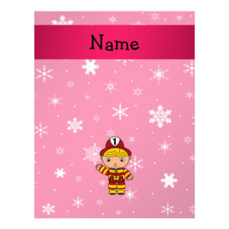 "Personalized name fireman pink snowflakes 8.5"" x 11"" flyer"