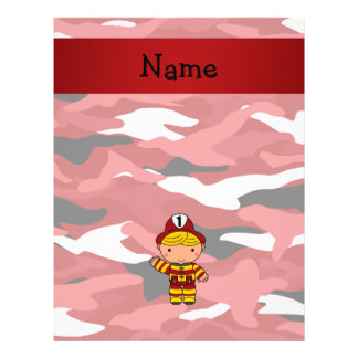"Personalized name fireman red camo 8.5"" x 11"" flyer"
