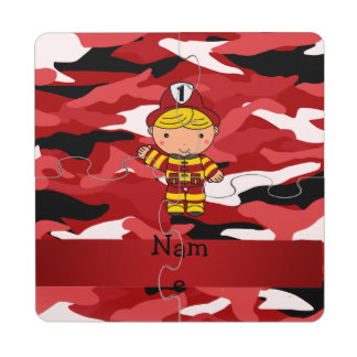 Personalized name fireman red camo puzzle coaster