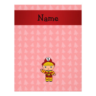 "Personalized name fireman red christmas trees 8.5"" x 11"" flyer"