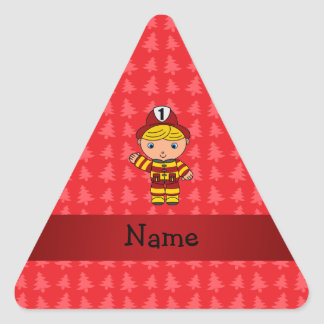 Personalized name fireman red christmas trees triangle sticker