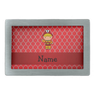 Personalized name fireman red dragon scales belt buckle