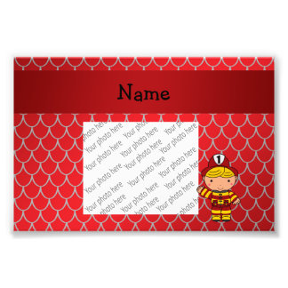Personalized name fireman red dragon scales photo print