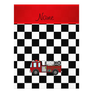"Personalized name firetruck black white checkers 8.5"" x 11"" flyer"