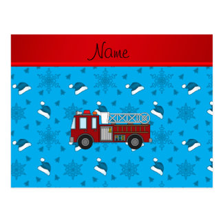 Personalized name firetruck blue santa hats trees postcard