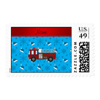 Personalized name firetruck blue santa hats trees stamps