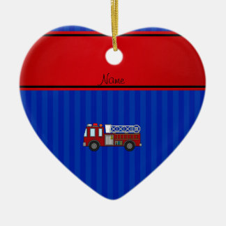 Personalized name firetruck blue stripes Double-Sided heart ceramic christmas ornament