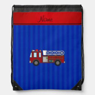Personalized name firetruck blue stripes drawstring bag