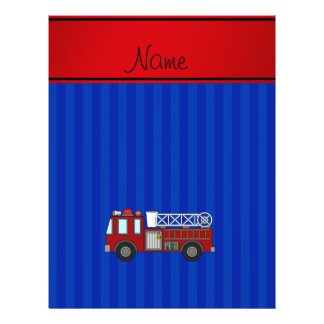 "Personalized name firetruck blue stripes 8.5"" x 11"" flyer"