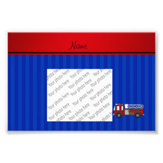 Personalized name firetruck blue stripes photograph