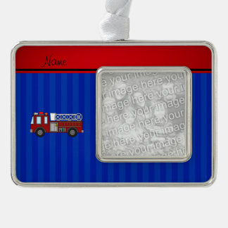 Personalized name firetruck blue stripes silver plated framed ornament