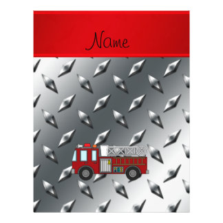 "Personalized name firetruck diamond steel plate 8.5"" x 11"" flyer"