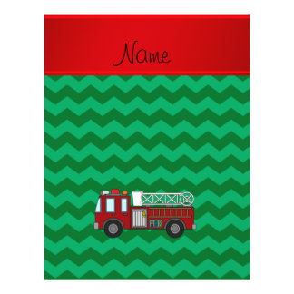 "Personalized name firetruck green chevrons 8.5"" x 11"" flyer"