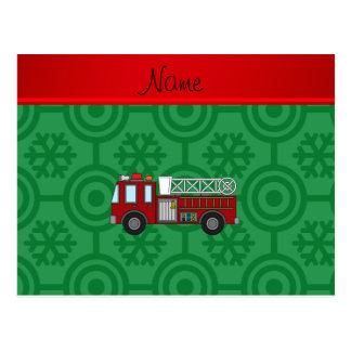 Personalized name firetruck green retro snowflakes postcard