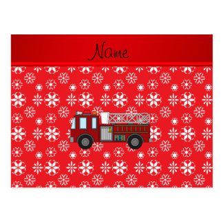Personalized name firetruck red white snowflakes postcard