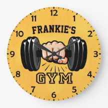 Gym Weight Personalized 50KG Print Wall Clock Workout Fitness Barbell Dumbbell