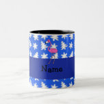 Personalized name flamingo blue snowflakes trees Two-Tone coffee mug