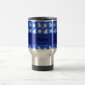Personalized name flamingo blue snowflakes trees mug