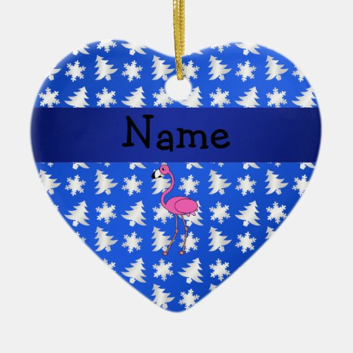 Personalized name flamingo blue snowflakes trees Double-Sided heart ceramic christmas ornament
