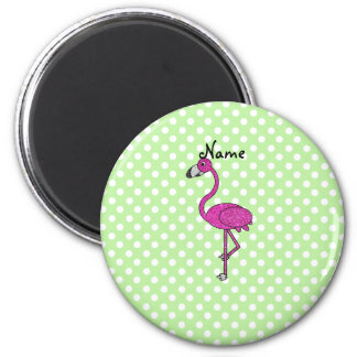 Personalized name flamingo green polka dots 2 inch round magnet
