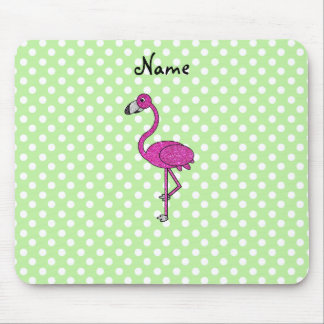 Personalized name flamingo green polka dots mouse pad