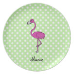 Personalized name flamingo green polka dots dinner plate