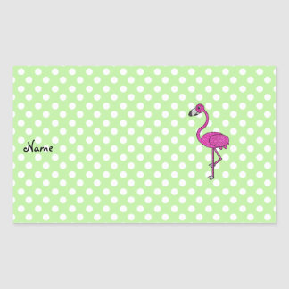 Personalized name flamingo green polka dots stickers
