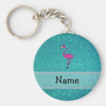 Personalized name flamingo turquoise glitter key chain