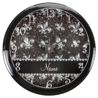 Personalized name fleur de lis black glitter aqua clocks