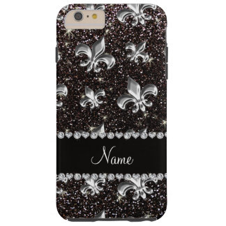 Personalized name fleur de lis black glitter tough iPhone 6 plus case