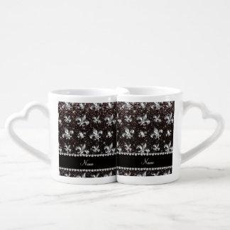 Personalized name fleur de lis black glitter coffee mug set