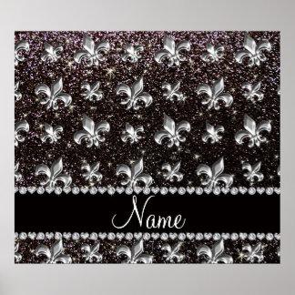 Personalized name fleur de lis black glitter poster