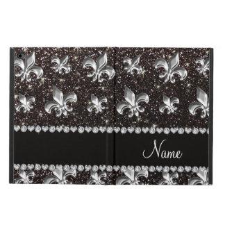 Personalized name fleur de lis black glitter powis iPad air 2 case