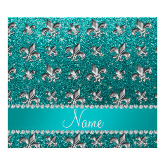 Personalized name fleur de lis bright aqua glitter posters